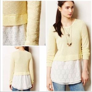 Anthropologie yellow lace sweater size medium